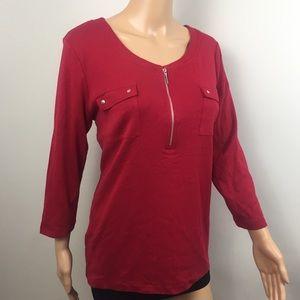 Karen Scott Top Red 3/4 Sleeve Mock Zip Casual